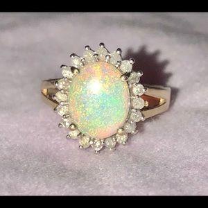Vintage Estate Genuine Opal Diamond Halo Ring